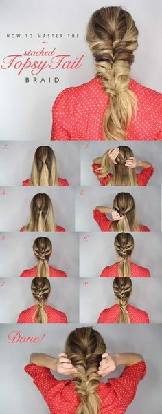 Best Hair Braiding Tutorials - Topsy Tail Braid - Easy Step by Step Tutorials for Braids - How To Braid Fishtail, French Braids, Flower Crown, Side Braids, Cornrows, Updos - Cool Braided Hairstyles for Girls, Teens and Women - School, Day and Evening, Boho, Casual and Formal Looks http://diyprojectsforteens.com/hair-braiding-tutorials