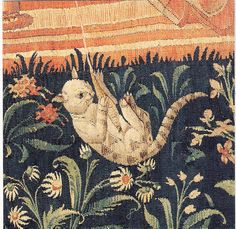 cat detail from  La Vie Seigneuriale - Leaving for the Hunt   tapestry   French School