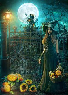 Halloween by IvannaDark on DeviantArt Samhain Halloween, Halloween Art, Holidays Halloween, Happy Halloween, Fantasy Witch, Witch Art, Fantasy Art, Witch Pictures, Halloween Pictures