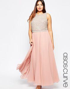 Image 1 ofASOS CURVE Premium Double Layer Embellished Maxi Dress