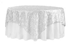 """Flower on Sequin Taffeta Table Overlay 90""""x90"""" - White"""