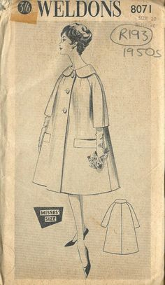 """ITEM DESCRIPTION:~ Circa/Date: LATE 1950s~ Details:    COAT ~ Size/Measurements (Inches):    Size: 20    BUST: 40""""    Waist:  32""""    Hip: 42"""" ~ Please Note: You are buying a 'Professional Digitally Reproduced' copy of this sewing pattern (copied from the original sewing pattern), produced in 'Full Scale Pattern Pieces' ready to cut with full instructions included. All reproduced to this quality high standard, on 50 gram paper with black ink. This will ensure a much longer lasting effect and easi Dress Making Patterns, Vintage Dress Patterns, Pattern Making, Sewing Machine Accessories, Vintage Vogue, Vintage Glamour, Vintage Fashion, Vogue Sewing Patterns, Headband Pattern"""