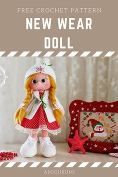 Amigurumi Free Patterns: Amigurumi New Year Doll-Free Pattern Doll Amigurumi Free Pattern, Crochet Toys Patterns, Stuffed Toys Patterns, Amigurumi Doll, Crochet Dolls, Doll Patterns, Crochet Ideas, Free Crochet, Crochet Hats