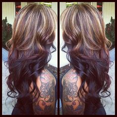 Carmel brown highlights with dark chocolate brown bottom