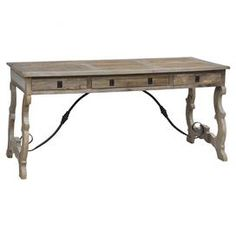 """Hand-carved reclaimed elm wood desk with three drawers.  Product: DeskConstruction Material: Reclaimed elm woodColor: Grey washFeatures:  Hand-carvedThree drawers Dimensions: 30"""" H x 65"""" W x 28"""" DCleaning and Care: Clean with a dry cloth"""