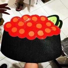 """""""ikura"""" #salmon #egg #sushi #handbag from #japan at #narita #airport #fashion #fun on a whole new level! #onlyinjapan #tokyo #2015 #musthave"""