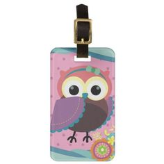 Gorgeous Folk Art Owl with Flowers Tags For Luggage