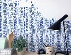 An ink-drawn herringbone pattern for the walls. The easy peasy and affordable alternative to wallpaper.  The size of the foil is perfect for working
