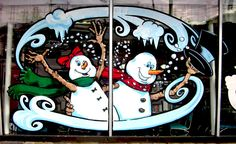 Painted Window Art, Painting On Glass Windows, Christmas Canvas, Christmas Paintings, Window Mural, Office Christmas Decorations, Watercolor Christmas Cards, Painted Signs, Christmas Pictures