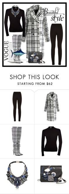 """Black and white Plaid"" by qmaxine ❤ liked on Polyvore featuring Theory, Chicwish, Off-White, Ranjana Khan, Ivanka Trump, plaid, statement and over"