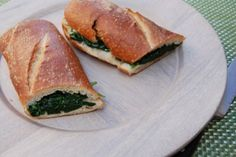 Baguette w/Sauteed Garlic Spinach & Olive Oil