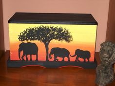 Child's Toy Box, Elephant Family Hand-Painted Wood. $125.00, via Etsy.