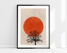 Red Sun Tree Silhouette Print - available as an or print only or it can be framed in a Black or White Frame Sun Silhouette, Orange Wall Art, Scandinavian Art, Tree Wall Art, Nature Prints, Tree Print, Minimalist Art, Abstract Wall Art, White Art