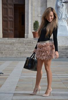 Feather skirt  , Stradivarius in Skirts, Zara in Heels / Wedges, Prada in Bags, Intimissimi in Shirt / Blouses