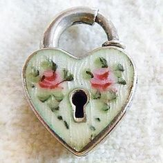 Walter Lampl sterling silver heart padlock in pale green Guilloche enamel with hand-painted pink roses. I Love Heart, Key To My Heart, Happy Heart, Heart Art, Heart Images, Tunnels And Plugs, Fire Heart, Vintage Heart, Silver Charms