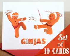 """Holiday Cards - """"Ginjas"""" - Set of 10 Cards"""