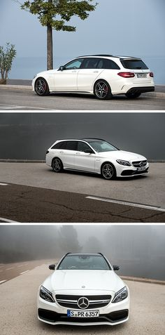 The white star: The Mercedes-AMG C 63 S Estate.  Photos by Helix4Motion (www.helix4motion.com) for #MBsocialcar [Mercedes-AMG C 63 S | Fuel consumption combined: 8.6–8.4 l/100km | combined CO₂ emissions: 200–196 g/km | http://mb4.me/efficiency_statement]