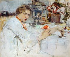 За самоваром. Портрет О.М.Ясеневой (1913). Николай Фешин