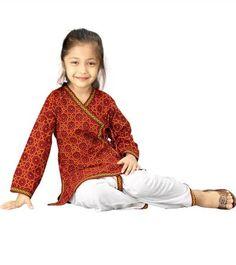 Rajasthani Kids Apparel  Sanganeri Bandhej Multicolour Dhoti Angarkha  Offer Price Rs.585/-