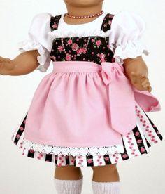Schildkroet-Puppenkleidung-romantisches-Dirndl-fuer-41-cm-grosse-Puppen