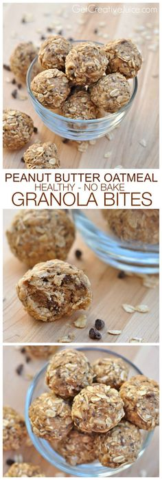 Peanut Butter Oatmeal Energy Bites - no bake, healthy, and the perfect snack food for kids or adults. Great for a small snack before a work out! Easy Baking Recipes, Snack Recipes, Dessert Recipes, Cooking Recipes, Raw Recipes, Recipies, Clean Recipes, Healthy Recipes, Diet Desserts