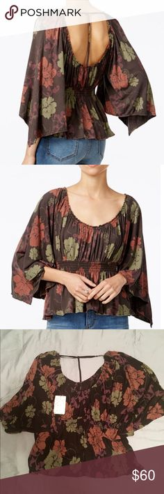 Free People Top Beautiful Free People Fall top with breezy flare sleeves! The top scrunched to give you a waist line! Perfect for Thanksgiving! Free People Tops Tees - Short Sleeve