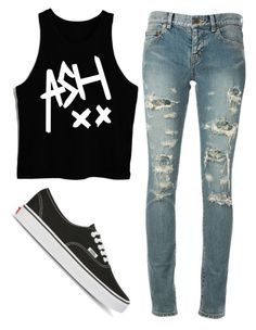 """""""Sin título #68"""" by changelingtrylle ❤ liked on Polyvore featuring Yves Saint Laurent, Vans and 5sos"""