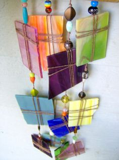 Windchime, suncatcher - green, blue, purple, yellows Recycled stained glass special windchime