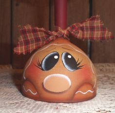Gingerbread Hand Painted Wine Glass Candle Holder. $8.00, via Etsy.