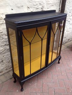 Perfect for displaying your favourite strappy heels or Jimmy Choo's, this beautiful contemporary glass display cabinet handpainted in vibrant black and yellow really adds chic to any boudoir. We used Websters Chalk Paint Powder to create our chalk paint. For sale now at The Nichols Building, Sheffield.