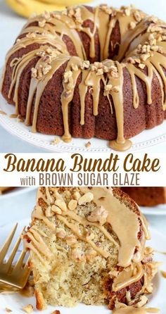 The absolutely BEST Banana Bundt Cake - Thick and soft banana cake with a delicate butter crumb and a decadent brown icing. cake The absolutely BEST Banana Bundt Cake - Thick and soft banana cake with a delicate butter crumb and a decadent brown icing. Banana Dessert Recipes, Köstliche Desserts, Banana Cake Recipe Best, Desserts With Bananas, Recipes With Bananas, Health Desserts, Yummy Recipes, Yummy Food, Bundt Cakes