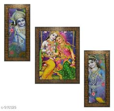Checkout this latest Gift combos Product Name: * Radha Krishna Wall Painting Frame (Set Of 3)* Material: Wood & Plastic Size: Frame 1 (L x W) - 12.5 in x 5.2 in Frame 2 (L x W) - 9.5 in x 12.5 in Frame 3 (L x W) - 12.5 in x 5.2 in Description: It Has 3 Pieces Of  Radha Krishna Frames With Painting (Glass Is Not Included) Work: Printed Country of Origin: India Easy Returns Available In Case Of Any Issue   Catalog Rating: ★4 (255)  Catalog Name: Classy Spiritual Wall Paintings Vol 18 CatalogID_107706 C128-SC1316 Code: 303-916329-756