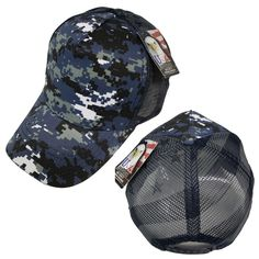 huge selection of 176b6 773d1 Military Digital Camo Blue Summer Mesh US Flag Trucker Hat Adjustable Cap
