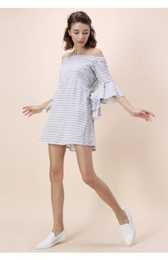 Leisure Stripe Off-shoulder Dress With Frilling Sleeves - Dress - Retro, Indie and Unique Fashion