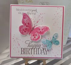 Stampin Up at The Warren: Grungy Watercolour Wings Birthday