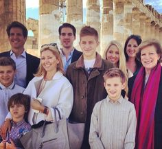 queensofias:  The Greek Royals at the Parthenon, March 2014-front-Prince Achileas, Prince Aristide, Crown Princess Pavlos (Marie Chantal), Prince Constantine, Prince Odysseas and Queen Anne Marie; back-Crown Prince Pavlos, Prince Philippos, Princess Maria Olympia and Princess Theodora.