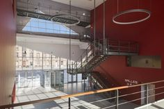 Image 4 of 14 from gallery of Le Cristal Cinema and Michel Crespin Square / Linéaire A. Photograph by Hervé Abbadie Interior Architecture, Interior Design, Cinema Room, Main Entrance, Stairs, Layout, Gallery, Building, Home