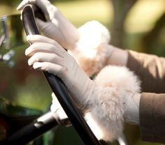 Alpaca fur cuffs