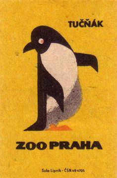vintage matchbox label  #penguin