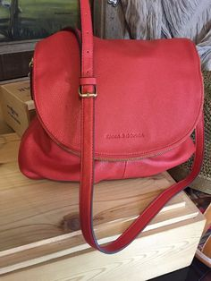 Emma & Sophia Coral Leather Aimee Crossbody Shoulder Handbag Summer Fun  | eBay