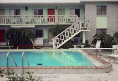 Postwar mid-century Florida motel pool. Wish I knew where this is/was. Looks like our old motel in Hollywood Beach.