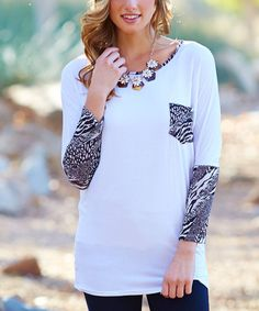Another great find on #zulily! White & Black Animal-Accent Top #zulilyfinds