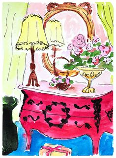 Room decor painting Red Dresser. Chic wall art. Original watercolour art. Gift for her. Lamp art.Girls room decor.Floral art.Bright painting