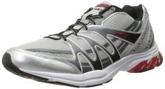 AVIA Men's Pulse II Running Shoe, Grey/Black/Red, 10 D US. Air mesh upper with overlays for maximum breathability and durability. Gelfom plus premium removable insole with additional arch support and cushioning. New and improved gel-RYD heel insert and cantilever design offer exceptional cushioning and shock absorption. Solid rubber outsole with forefoot grooves for unimpeded movement.