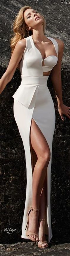 White maxi prom dress,long sexy evening dress,custom made dress,215