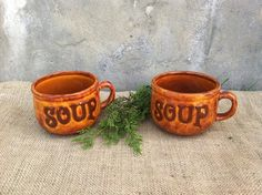 Vintage  Brown Pottery  Hand Crafted SOUP Bowls  by TimelessNchic, $9.95