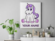 Purple sitting Personalized unicorn canvas wall decor for kids personalised unicorn canvas ready to hang on the wall unicorn picture by funkytshirtsfactory on Etsy Unicorn Pictures, Unicorn Wall, Personalised Canvas, Canvas Wall Decor, Cool Stuff, Canvases, Purple, Kids, Handmade