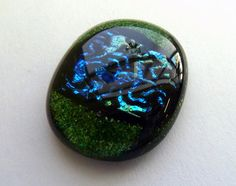 Green Ziggy Dichroic  Glass Button by ArtBoxCreations on Etsy, $2.50