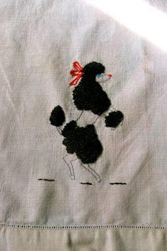 Funky Poodle on Linen Hand Towel Brown Poodle Trapunto by taffnie