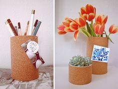 cork board vases.